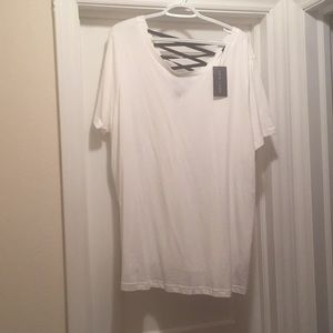 NWT! White Tee with lace up back